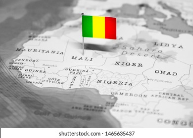 The Flag of Mali in the World Map