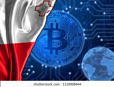 Flag of malta against the background of crypto currency bitcoin.