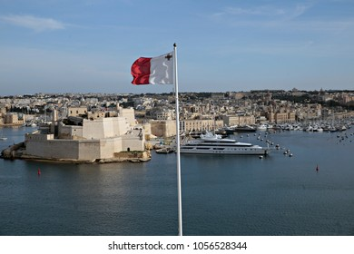 Flag of Malta waves in Valletta, Malta on Feb. 4, 2017