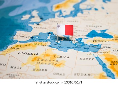 the Flag of malta in the world map