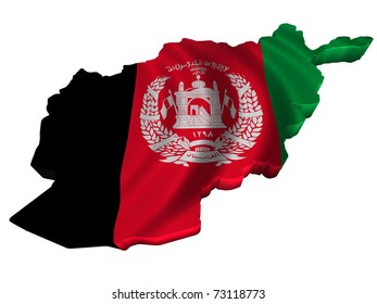 Flag and map of Afghanistan