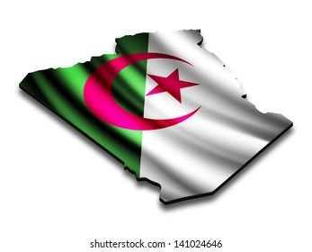 Flag map of Algeria in perspective. Waving Algerian flag clipped in country shape.