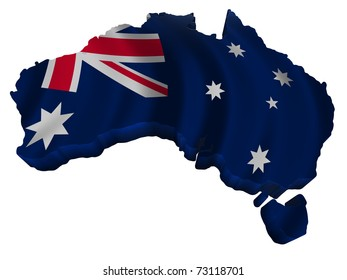 Flag and map of Australia