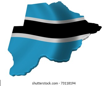 Flag and map of Botswana