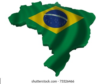 Flag and map of Brazil