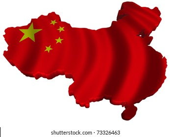 Flag and map of China