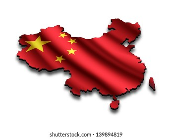 Flag map of China in perspective. Waving Chinese flag clipped in country shape.