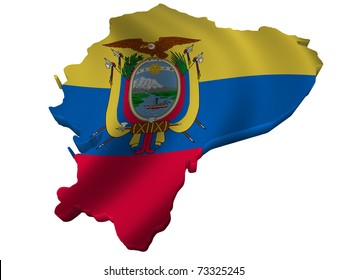 Flag and map of Ecuador