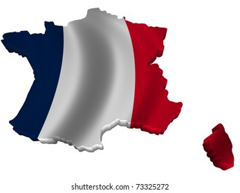 Flag and map of France