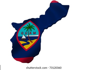 Flag and map of Guam