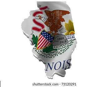 Flag and map of Illinois