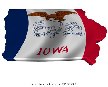 Flag and map of Iowa