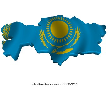 Flag and map of Kazakhstan