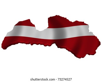 Flag and map of Latvia