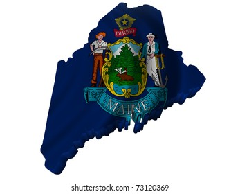 Flag and map of Maine