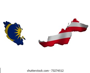 Flag and map of Malaysia
