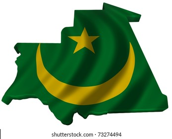 Flag and map of Mauritania