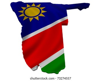 Flag and map of Namibia