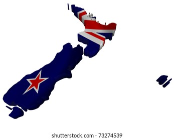Flag and map of New Zealand