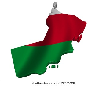 Flag and map of Oman