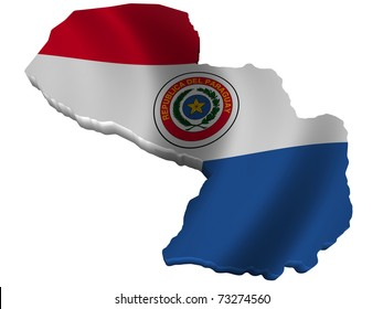 Flag and map of Paraguay