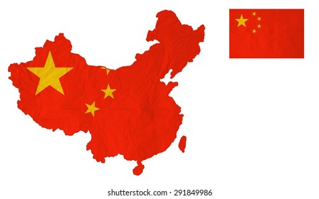 Flag map of the People's Republic of China with vintage old paper, isolate on white with clipping path