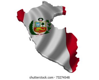 Flag and map of Peru