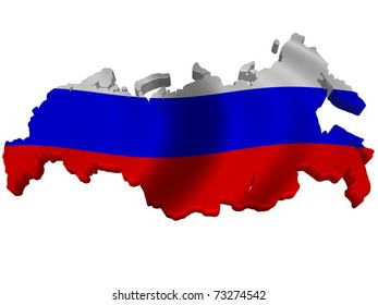 Flag and map of Russia