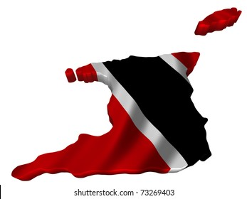Flag and map of Trinidad and Tobago