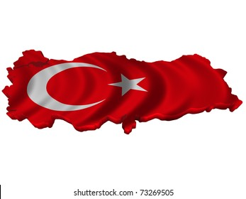 Flag and map of Turkey