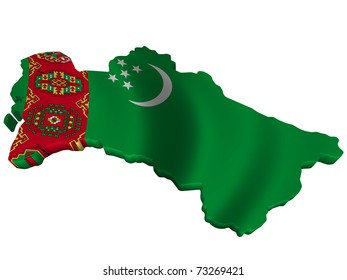 Flag and map of Turkmenistan