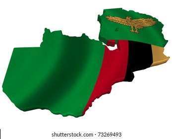 Flag and map of Zambia