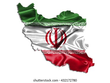 Flag map-iran country on white background.