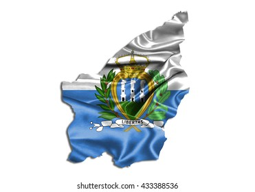 Flag map-san Marino country on white background.