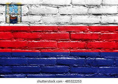 Flag of Maracaibo, Venezuela, painted on brick wall