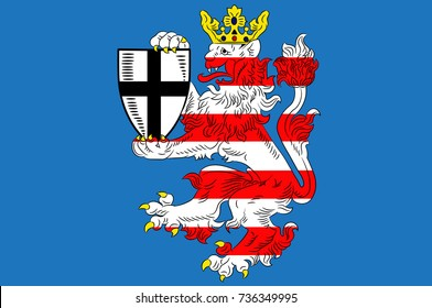Flag of Marburg-Biedenkopf is a district in the west of Hesse, Germany. 3d illustration