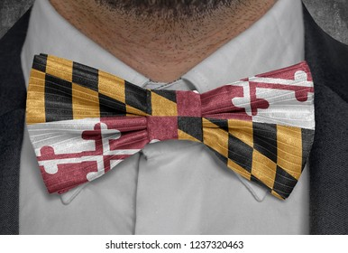 Flag of Maryland on bowtie business man suit