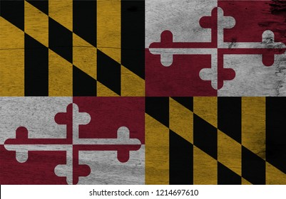 Flag of Maryland on wooden plate background. Grunge Maryland flag texture, The states of America. Heraldic banner of George Calvert, 1st Baron Baltimore.
