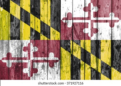 Flag of Maryland painted on wooden frame