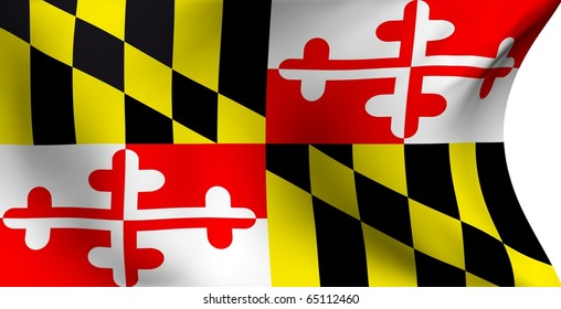 Flag of Maryland, USA against white background.
