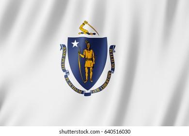 Flag of Massachusetts, US state. 3D illustration of the Massachusetts flag waving.