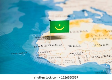 the Flag of mauritania in the world map