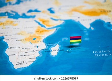 the Flag of mauritius in the world map
