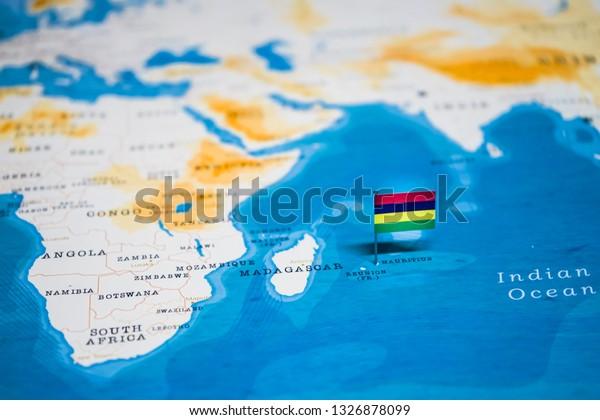 Die Flagge Von Mauritius Auf Der Stockfoto Jetzt Bearbeiten