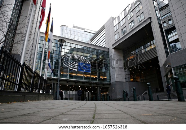 Flag of members states of EU outside of European Parliament building in Brussels, Belgium on Nov. 29, 2017.
