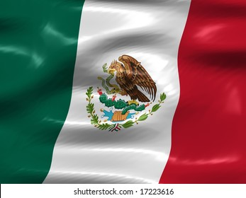 Flag of Mexico, detailed CG-Illustration with silky appearance and waves