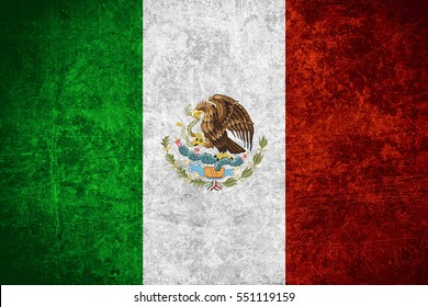flag of Mexico or Mexican banner on scratched vintage texture