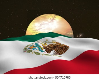 Flag of Mexico, perspective view in a space flight - 3d render