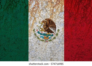 Flag of Mexico rusted metal
