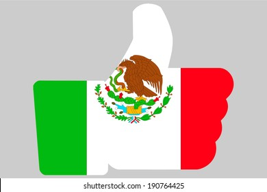 The flag of Mexico in a Thumbs Up Icon